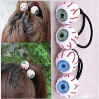 Wonderful 12pcs/lot DIY Blood Streak Hair Band Blue/Green Eyeball Hair Ring Headwear