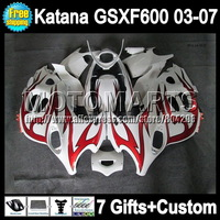 For SUZUKI KATANA GSXF600  GSXF 600 GSX600F  red flames 6A# GSXF-600 03 04 05 06 07 2003 2004 2005 2006 red white 2007 Fairing