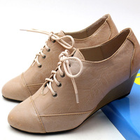 Free Shipping 2014 NEW Women's Fashion PU leather wedges single lace-up shoes Official OL platform 5.5cm high-heeled ankle boots
