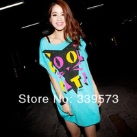 free shipping! 2014 new style summer women's print cat loose batwing shirt short-sleeve T-shirt