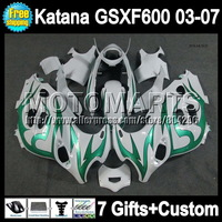 Green flames  For SUZUKI KATANA GSXF600  GSXF 600 GSX600F  NEW green white 6A#1 03 04 05 06 07 2003 2004 2005 2006 2007 Fairing