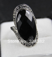 Big Tribal Vintage Statement cocktail Ring Black Gold Stone Embossed Celebrity Jewellery Fast ePacket Free Shipping