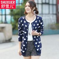 2014 spring women's sweater single breasted basic medium-long sweater cardigan