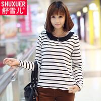 2014 spring loose slim female t-shirt peter pan collar stripe long-sleeve basic shirt