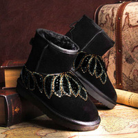 2013 rhinestone beaded genuine leather snow boots low Women boots