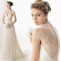 New arrival sweet elegant short trailing wedding dress deep V-neck racerback lace slim wedding dress mh062