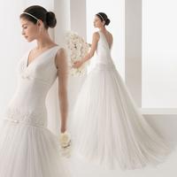 Low-waist V-neck elegant sexy slim short racerback train wedding dress formal dress 2014 mh019