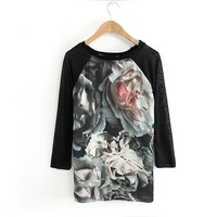 New2014  Women Spring Summer  Floral patchwork half of sleeves T-shirt