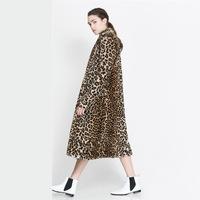 Autumn and winter lookbook leopard print fur overcoat double pocket long design female outerwear haoduoyi