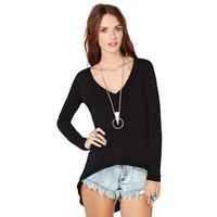 2014 New long and short -sleeved long section dovetail female backing shirt Slim V-neck T-shirt Free Shipping O