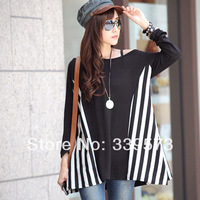 2014 plus size loose women vertical stripe t-shirt patchwork top batwing sleeve striped t-shirt