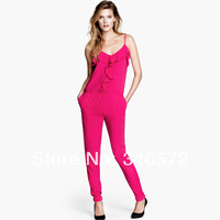 Ruffle V-neck jumpsuit elastic adjustable shoulder strap taper trouser haoduoyi
