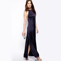 2014 New Bilateral split cross strap halter blue satin chiffon long dress skirt Free Shipping Dress O