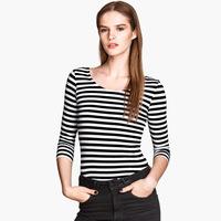 Black and white stripe slim three quarter sleeve female ship t-shirt basic shirt top 6 full haoduoyi  free shipping