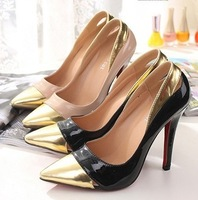 NEW 2014 Spring  Rhinestone Women Pumps  Thin Heels High-Heele Shoes Color Block Decoration Pointed tToe 11cm Sexy High-Heels