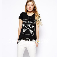 Love potion no9 black o-neck double arrow female short-sleeve t-shirt haoduoyi  free shipping
