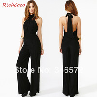 Chest bow sleeveless back cutout racerback high waist halter-neck jumpsuit trousers jumpsuit d119