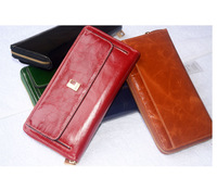 2014 new style famous brand women's fashion long style snaps leather clutch oil wax leather wallet phones free shipping