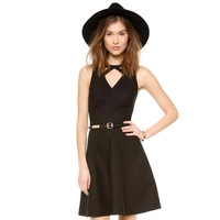 2014 New Cage V- neckline A word lattice jacquard mesh cut halter dress hook fasteners tightened Free Shipping O