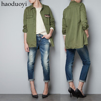 Military pocket paragraph diamond olive long-sleeve women's outerwear single breasted turn-down collar short trench haoduoyi
