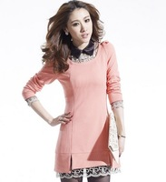 Wild lace peter pan collar elegant basic long-sleeve dress