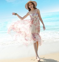 new 2014 summer Bohemia style floral beach dress spaghetti strap chiffon long dress