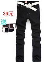 Autumn and winter jeans men's 100% casual slim cotton black micro elastic straight trousers