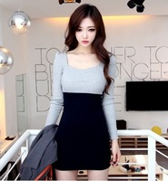 7 2014 sweet sexy color block decoration slim one-piece dress long-sleeve basic skirt