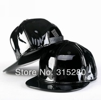 High quality women and men popular Hip-hop bboy PU leather flat snapback hats