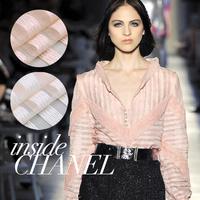 Designer ribbon woven pattern organza fashion fabric light pink skin color