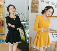 2013 autumn slim long-sleeve lace decoration spring and autumn basic one-piece dress