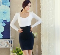 C4 2014 women's long-sleeve slim square collar fashion short skirt solid color one-piece dress