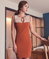 91 2014 all-match carved patchwork lace slim dresses one-piece dress
