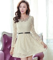 5 2014 sweet elegant beading paillette slim long-sleeve lace dress with belt