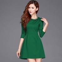 Flower fashion 2014 basic slim solid color three quarter sleeve one-piece dress