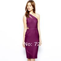 Slim elastic jacquard knitted one shoulder irregular haoudoyi one-piece dress