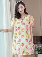 N 2014 princess wind print chiffon plus size one-piece dress maternity dress