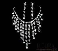 DR027 Crystal Long Necklace Earrings Sexy Women Bridal Wedding Jewlery Set