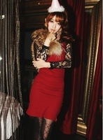 91 women's 2013 autumn lace patchwork slim sexy one-piece dress