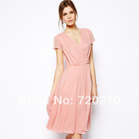 The anteroposterior V collar pleated slim Pink short-sleeve chiffon one-piece dress haoduoyi