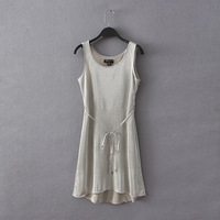 Women's 2014 summer all-match bars slim solid color sleeveless lacing vest one-piece dress