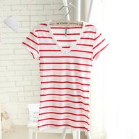 Spring and summer new arrival women's slim stripe basic t-shirt