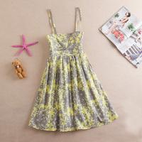 2014 spring and summer suspender fancy women's slim elastic waist one-piece dresses