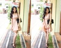 2014 spring dress ,summer and autumn women dress Sexy Deep V-neck Stitching party dresses Vest Dress Sleeveless