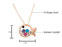 2014 New Design Fashion Jewelry Cute Unique fish Pendent Gold Color Chain Animal Necklace for women