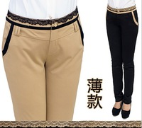 Large size women's casual  thin lace stitching OL pencil pants feet pants 2XL,XXXL,3XL,XXXXL,4XL free shipping