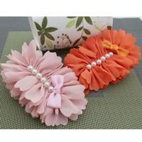 Wholesale Korean fascinator hair accessories women/girls hair combs chiffon flower with pearl hair bands headdress 100 pcs/lot