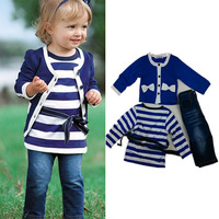 10sets/lot 3 pcs Suit For Kids Girls 2014 New Spring Brand Designer Girl Jackets T Shirt Pants Navy Stripe Sport  Clothing Set