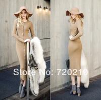 Fashion spring 2014 elegant slim brief knitted full dress one-piece dress nude color black 9980