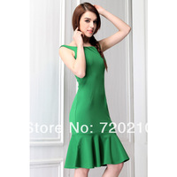 Fresh green elegant ruffle hem sexy slit neckline short skirt vintage fish tail skirt one-piece dress 9869